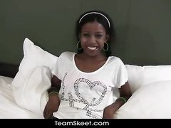 Teen ebony babe enjoys interracial fuck at porn casting