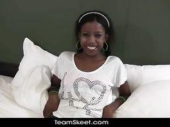 Teen ebony babe enjoys interracial fuck at porn casting