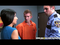 Handsome prisoner fucks stunning brunette witness chick
