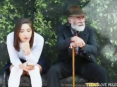 Grandpa is impressed and amazingly excited by teen couple fucking at bus stop