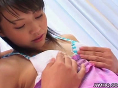 Asian teen with hairy twat excites from cunnilingus