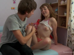 Teen babe thanks her fucker with blowjob for feet massage