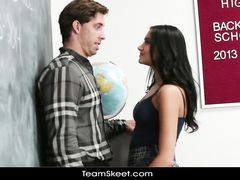 Slutty schoolgirl covets to her teacher and passionately fucks him