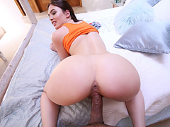 Bubble butt brunette with hairy cunt loves cowgirl p[osition