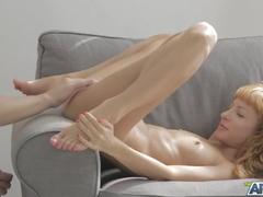 Scrawny ginger beauty enjoys pussy licking and hardcore fuck