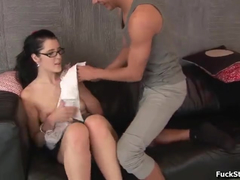 Tight and hot brunette in glasses got pleased with hardcore doggystyle fuck
