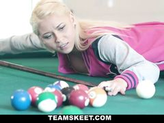 Teen blonde with yummy plump body enjoys fucking on the pool table