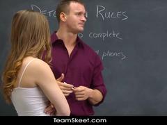 Dummy schoolgirl slut bribes her teacher with hardcore fuck