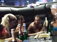 Sexy young chicks got drunk at the party and fucked in restaurant