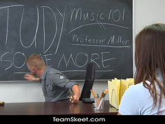 Beautiful schoolgirl moans from fucking hard with her teacher