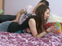 Young couple is fucking hard on the bed and enjoying sexual pleasure