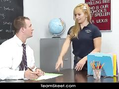 Blonde student chick seduces her teacher and fucks him in classroom