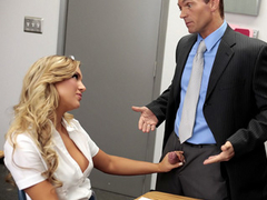 Delightful blonde student with tight arse fucks her teacher