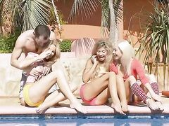 Stunning sexy three blonde girlfriends got fucked by one dude