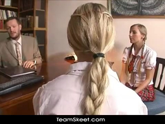 Pig tailed twin blonde student sluts are fucking hard their counselor
