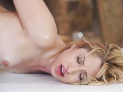 Curly young blonde babe deepthroats big dick before having hardcore fuck