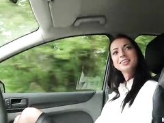 Wonderful brunette nurse enjoys hardcore fuck in the car
