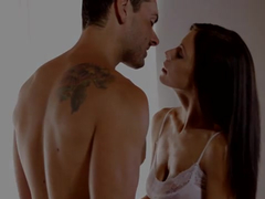 Horny brunette excitingly oils up before fucking her boyfriend