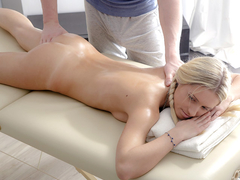 Sexy young blonde got passionately fucked by handsome masseur