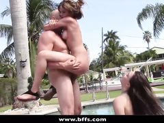 Jelly butted young sluts are fucking one cock outdoors