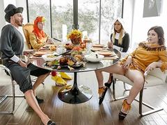 Perverted family enjoys hardcore group sex at thanksgiving diner