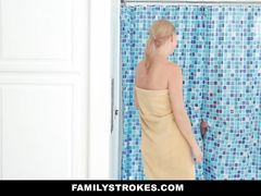 Skinny blonde milf with swinging boobs enjoys hardcore fuck in shower with stepson