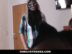 Young guy wears the mask to scare his two young stepsisters and gets fucked by them