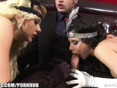 Handsome fucker invites two whores and enjoys wildly hot ffm threesome fuck