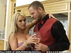 Bouncy boobed blonde Holly Halston fucks a handsome waiter in kitchen