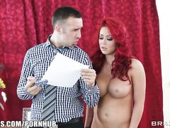 Red haired slut with huge tits and hot butt loves to suck big dick before anal fuck