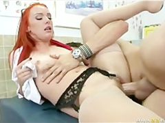 Impressive sexy shaped redhead doctor Dani Jensen enjoys fucking hard with patient