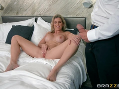Sweet young blonde chick with hot boobies loves cunnilingus before hardcore fuck