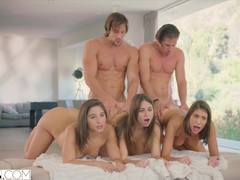 Three steaming sexy chicks Riley Reid, August Ames and Abella Danger are having group fuck