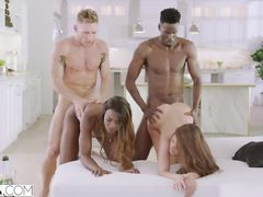 Black and white couples are enjoying rough interracial foursome swinger fuck