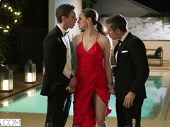 Gorgeous brunette Tori Black enjoys threesome fuck by the pool at some party