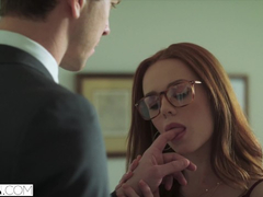 Ginger girl Ella Hughes gets eyes tied up and fucked in deepthroat