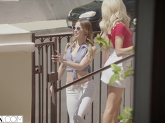 Slutty girlfriends Jillian Janson and Elsa Jean are having threesome with tutor