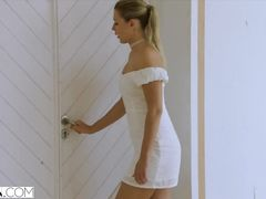 Blonde girl comes to boss's house dressed in too sexy white dress and gets fucked