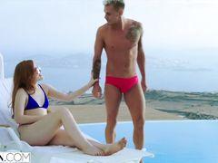 Wonderful ginger chick Jia Lissa makes hot pics wearing sexy bikini by the pool before fucking hard