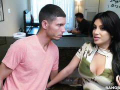 Steaming hot young brunette Kitty Caprice got fucked by stepbrother in kitchen