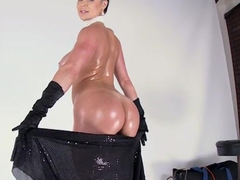 Luxurious brunette oiled milf deepthroats big dick before getting fucked hard