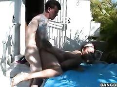 Awesome hot blonde Monica loved hardcore fuck on backyard