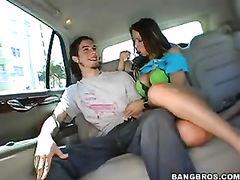 Exciting slender shaped Rachel Roxxx is enjoying hardcore fuck in the car