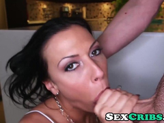 Steaming hot young brunette Rachel Starr blowjobs her fucker and enjoys rough sex