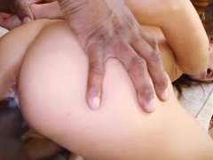 Delightful girl Riley Reid is being fucked in shaved pussy with bbc and having asshole stroked