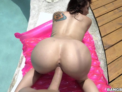 Delicious brunette babe Mandy sucks big dick and enjoys doggystyle hardcore by the pool