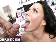 Busty hot brunette girl Rachel Starr loves nasty cumshots! Watch exclusive compilation