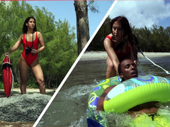 Steaming hot young lifeguard Valerie Kay rescues a black guy and gets fucked hard