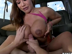 Brown haired beauty slut got hooked and fucked hard in the van